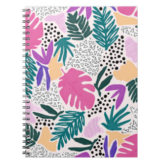 Cutting Shapes Colourful Tropical Pattern Notebook