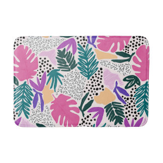 Cutting Shapes Tropical Pattern Bathmat