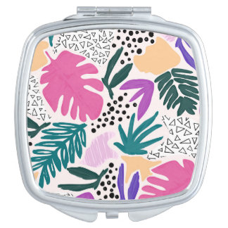 Cutting Shapes Tropical Pattern Compact Mirror