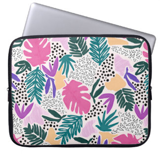 Cutting Shapes Tropical Pattern Laptop Sleeve