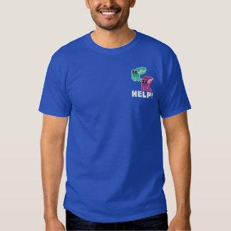 Cuttle Scuttle! Cute Pixel Art Cuttlefish Blue Embroidered T-Shirt