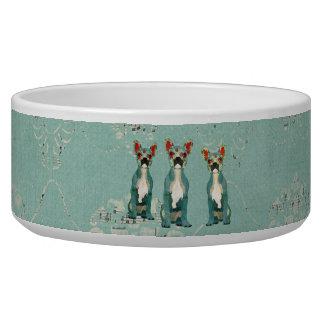 Cuvette bleue vintage d'animal familier de assiettes pour chien