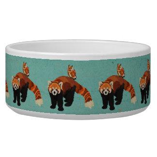 Cuvette d'animal familier de panda rouge et de gamelles pour chien