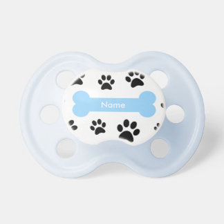 Cuztomizable Blue Dog Bone with Paw Prints Pacifier