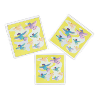 CVAn0061 Colorful Parrots Flying Whimsical Around. Acrylic Tray