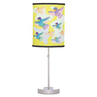 CVAn0061 Colorful Parrots Flying Whimsical Around. Table Lamp