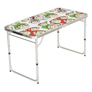 CVAn0062 Cute Smiling Whimsical Monkeys Beer Pong Table