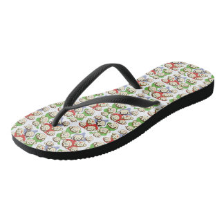 CVAn0062 Cute Smiling Whimsical Monkeys Flip Flops