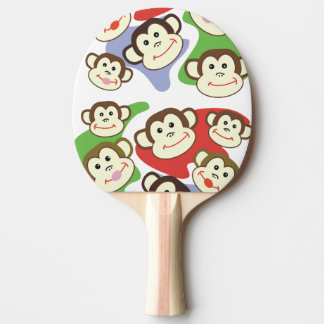 CVAn0062 Cute Smiling Whimsical Monkeys Ping Pong Paddle