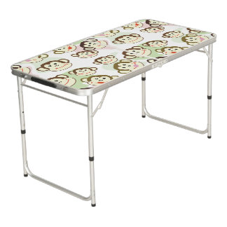 CVAn0063 Cute Smiling Whimsical Monkeys Beer Pong Table