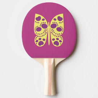 CVAn0074 Butterfly Yellow Purple Pink Ping Pong Paddle