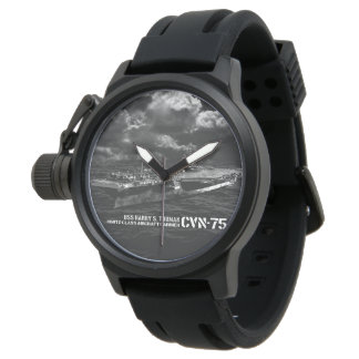 CVN-75 Harry S. Truman Crown Protector Black Rubb Watch