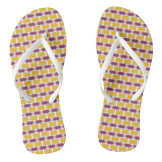 CVPA20019 Boysenberry Purple and Poppy Yellow Dots Flip Flops