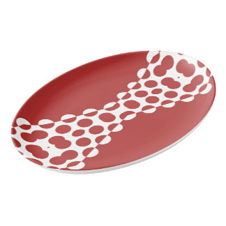 CVPA20031 Red Afternoon Bubbles Porcelain Serving Platter