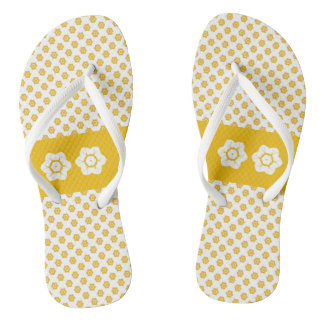 CVPA20043 Poppy yellow and white flower pattern Flip Flops