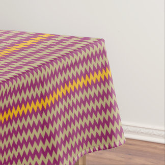 CVPA20050 ZigZag Chevron Yellow Purple Ecru Tablecloth