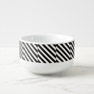 CVS0096 Black and White wide slanted angled stripe Soup Bowl With Handle
