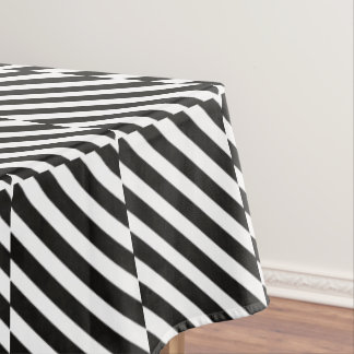 CVS0096 Black and White wide slanted angled stripe Tablecloth