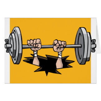 CWLFTF CARTOON WEIGHTLIFTER FALLING THROUGH FLOOR CARD