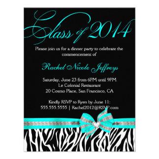 CWR Tonya G Black White Teal Zebra Graduation Announcement