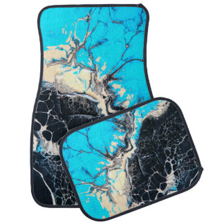 Cyan and black fluid acrylic paint Art work Car Mat