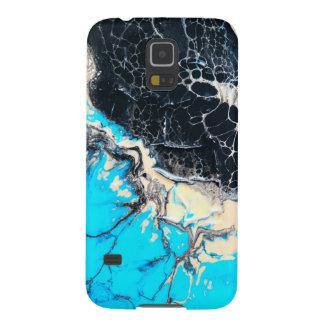 Cyan and black fluid acrylic paint Art work Case For Galaxy S5