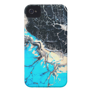 Cyan and black fluid acrylic paint Art work iPhone 4 Cover