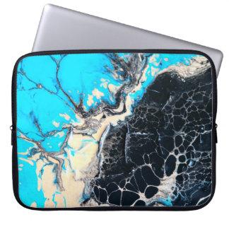Cyan and black fluid acrylic paint Art work Laptop Sleeve