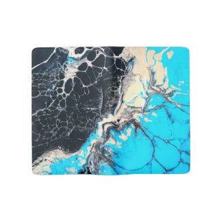 Cyan and black fluid acrylic paint Art work Large Moleskine Notebook