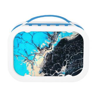 Cyan and black fluid acrylic paint Art work Lunch Box