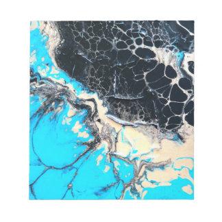 Cyan and black fluid acrylic paint Art work Notepad