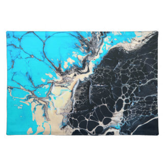 Cyan and black fluid acrylic paint Art work Placemat