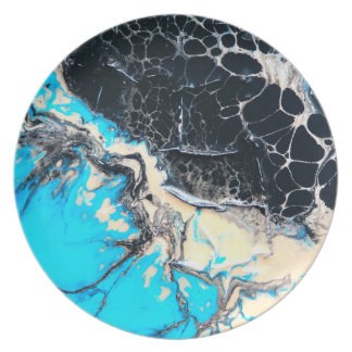 Cyan and black fluid acrylic paint Art work Plate
