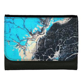 Cyan and black fluid acrylic paint Art work Wallet