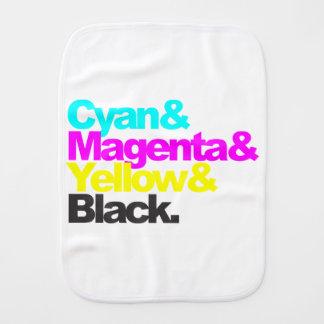 Cyan and Magenta and Yellow and Black Burp Cloth