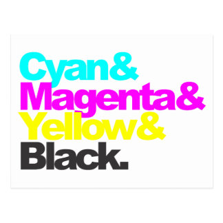 Cyan and Magenta and Yellow and Black Postcard