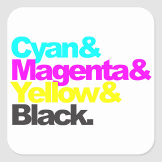 Cyan and Magenta and Yellow and Black Square Sticker