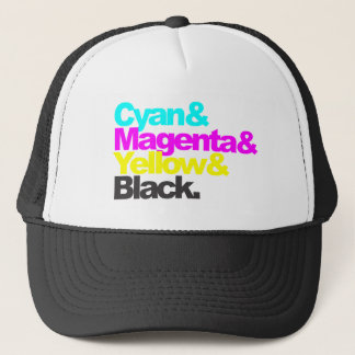 Cyan and Magenta and Yellow and Black Trucker Hat