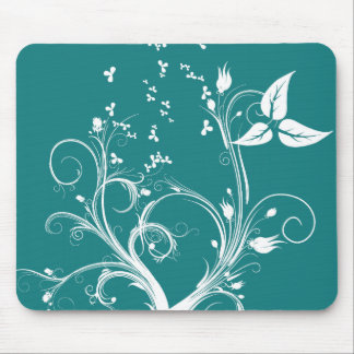 Cyan and White Abstract Plant Mouse Pad
