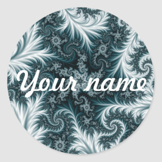 Cyan and white fractal pattern. classic round sticker