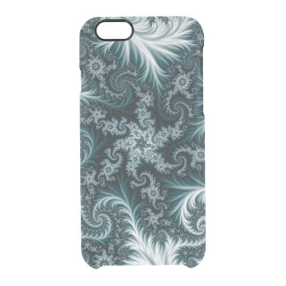 Cyan and white fractal pattern. clear iPhone 6/6S case