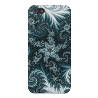 Cyan and white fractal pattern. iPhone 5/5S cases