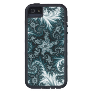 Cyan  and white fractal pattern. iPhone 5 covers