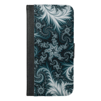 Cyan and white fractal pattern. iPhone 6/6s plus wallet case