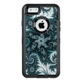 Cyan and white fractal pattern. OtterBox defender iPhone case