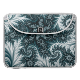 Cyan and white fractal pattern. sleeve for MacBooks
