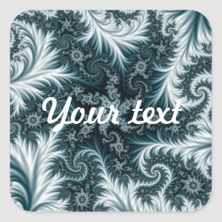 Cyan and white fractal pattern. square sticker