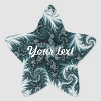 Cyan and white fractal pattern. star sticker