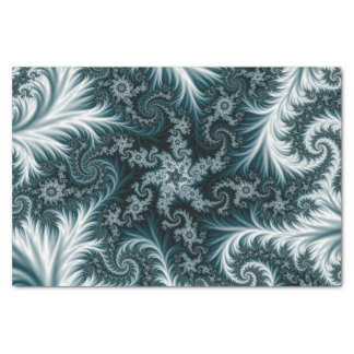 Cyan and white fractal pattern. tissue paper