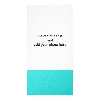 Cyan Aqua Blue Foil Printed Picture Card